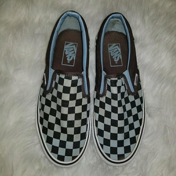 black and blue slip on vans